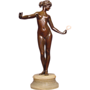 Antique Bronze Nude Lady Holding Mirror P. Philippe