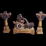 Magnificent Antique Cherub 3 Piece Clock Set