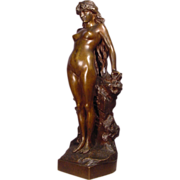 Antique Art Nouveau Bronze Nude Lady A. Grevin 23.5