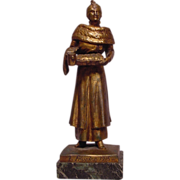 Antique Bronze Lady Collecting For Charity Dunach