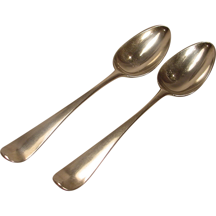 Pair of georgian silver tablespoons from for 1 table spoon to ml