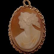 Antique Art Nouveau 14k Cameo Pendant/Brooch