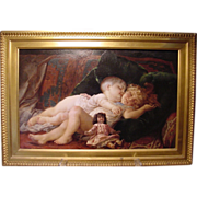Baby & Child With Doll Oil Painting Virgilio Tojetti Italian 1851-1901