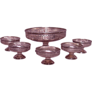 Antique Reticulated Sterling Silver Master Salt Cellar & Individual Salt Cellars