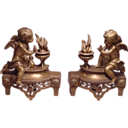 Wonderful Pair of Antique Cherub & Flame Bronze Chenets