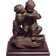 Antique 19th Century Bronze Sculpture Depicting 2 Children
