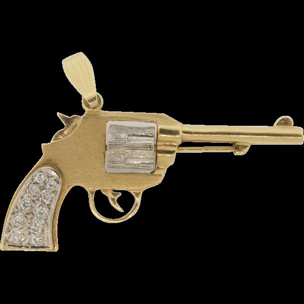 14k white yellow gold 10 diamonds handled revolver pistol 14k white yellow gold 10 diamonds handled revolver pistol pendant aloadofball Image collections