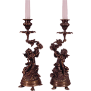 Beautiful Pair Cherub & Floral Bronze Candle Holders