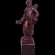 Antique Bronze Figure of Archer with Cross Bow Signed Oskar Gladenbeck