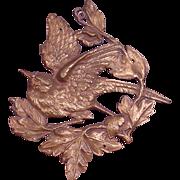2 Antique Bronze Sculptured Bird Furniture or Door Mounts
