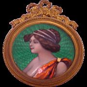 Beautiful Antique Art Nouveau Enamel Lady's Framed Portrait