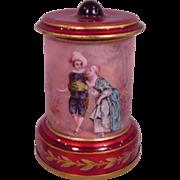Beautiful Antique French Enamel Decorative Urn Man & Woman in Formal Dress
