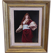 Exquisite Antique KPM Porcelain Plaque Artist Signed Ullmann Woman & Tambourine