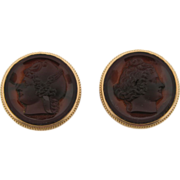 Exquisite Antique Pair 14k Gold Carved Cameo Carnelian Agate Cufflinks