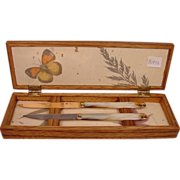 14k Gold Knife & Sterling Silver Knife Mother of Pearl Handles Fitted Box