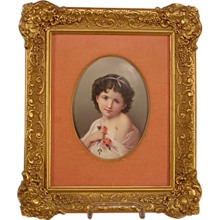 Exquisite Antique Painting on Porcelain Plaque Little Girl With Flowers
