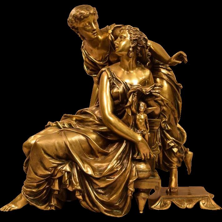 Antique Bronze Sculpture Two Classical Robed Women and a Cherub Signed E. Hebert