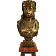 Zacharie Rimbez Antique Orientalist Polychrome Bronze Womans Bust 19th Century
