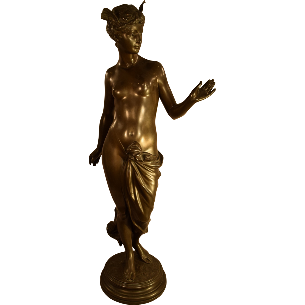 Exquisite Antique Semi Nude Lady Bronze Signed A Mayer German From -3216