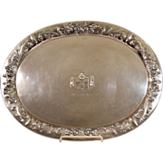 Vintage 800 Silver Large Tray 45 troy Ounces 20-1/4 Inches Long Coat of Arms