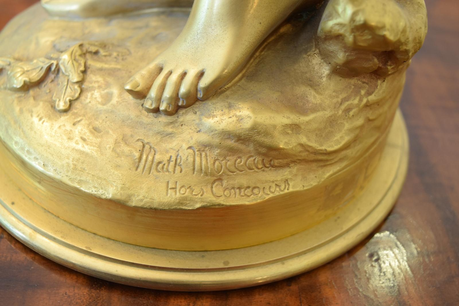 Large Beautiful Gilt Bronze Semi Nude Lady Cherub Birds Math Moreau From -9292