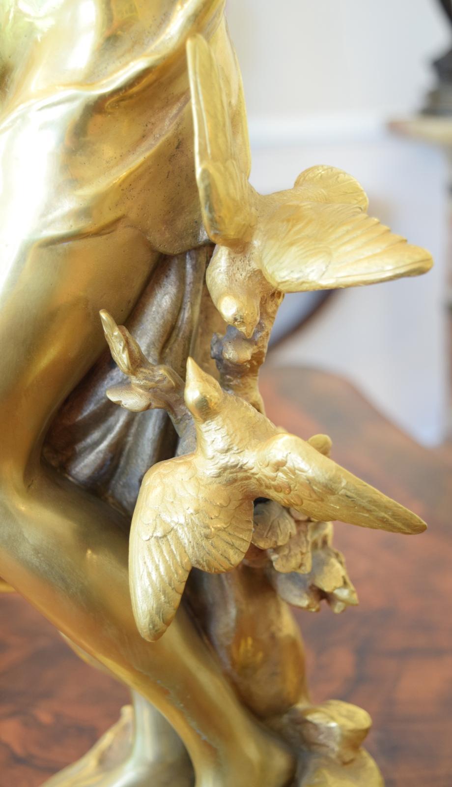 Large Beautiful Gilt Bronze Semi Nude Lady Cherub Birds Math Moreau From -2978