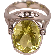 Rare Lemon Citrine Diamonds 18K White Gold Designer Ring