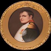Beautiful Antique Paining on Porcelain Plaque Napoleon Gilt Bronze Hanging Frame