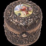 Extraordinary Durgin Sterling Silver Enamel Gilt Traveller's Inkwell Circa 1900