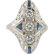 Art Deco 18k White Gold Diamonds and Sapphires Ladies Ring