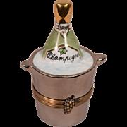 Wonderful Vintage Hand Painted Limoges Porcelain Box w/ Champagne Bottle & Bucket