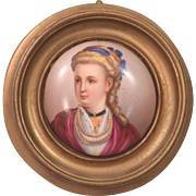 Antique Painting On Porcelain Plaque Blonde Lady Wearing Pearl Necklaces