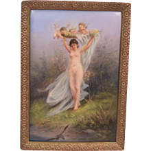 Exquisite Antique Painting On Porcelain Plaque Nude Lady With Cherubs