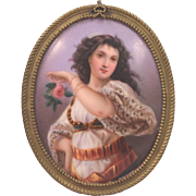 Beautiful Antique Orientalist Dancer Painting On Porcelain Plaque Bronze Frame