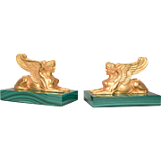 Beautiful Pair of Gilt Bronze Sphinx Bookends on Malachite Bases