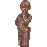 Beautiful Antique Austrian Bronze Boy Hiding Pipe Behind Him Signed R. Langer