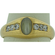 Superb Cats Eye Diamonds Marked 14K Gold Man's Ring