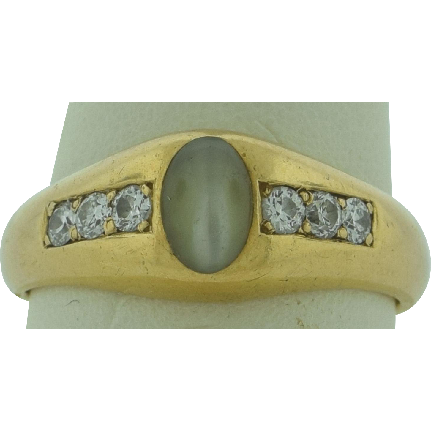 Cats Eye Ring Silver Diomonds
