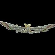 Vintage 18k Gold Platinum Diamonds, Rubies, Emeralds, Butterfly Brooch