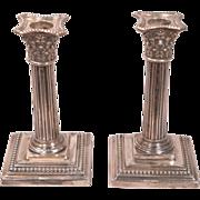 Antique English Silver London 1888-89 Corinthian Candlesticks