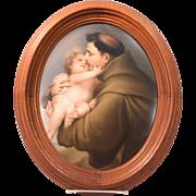 Antique KPM Painted Porcelain Plaque Saint Anthony Holding A Baby 19th Century