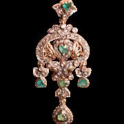 Antique Victorian 18k Earrings Heart Shaped Emeralds Old Rose Cut Diamonds