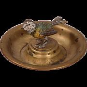 Antique Vienna Bronze Bird on Metal Tray