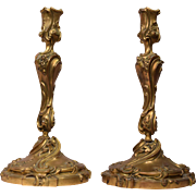 Rare Pair of Antique Bronze Candlesticks With Floral and Foliate Decorations