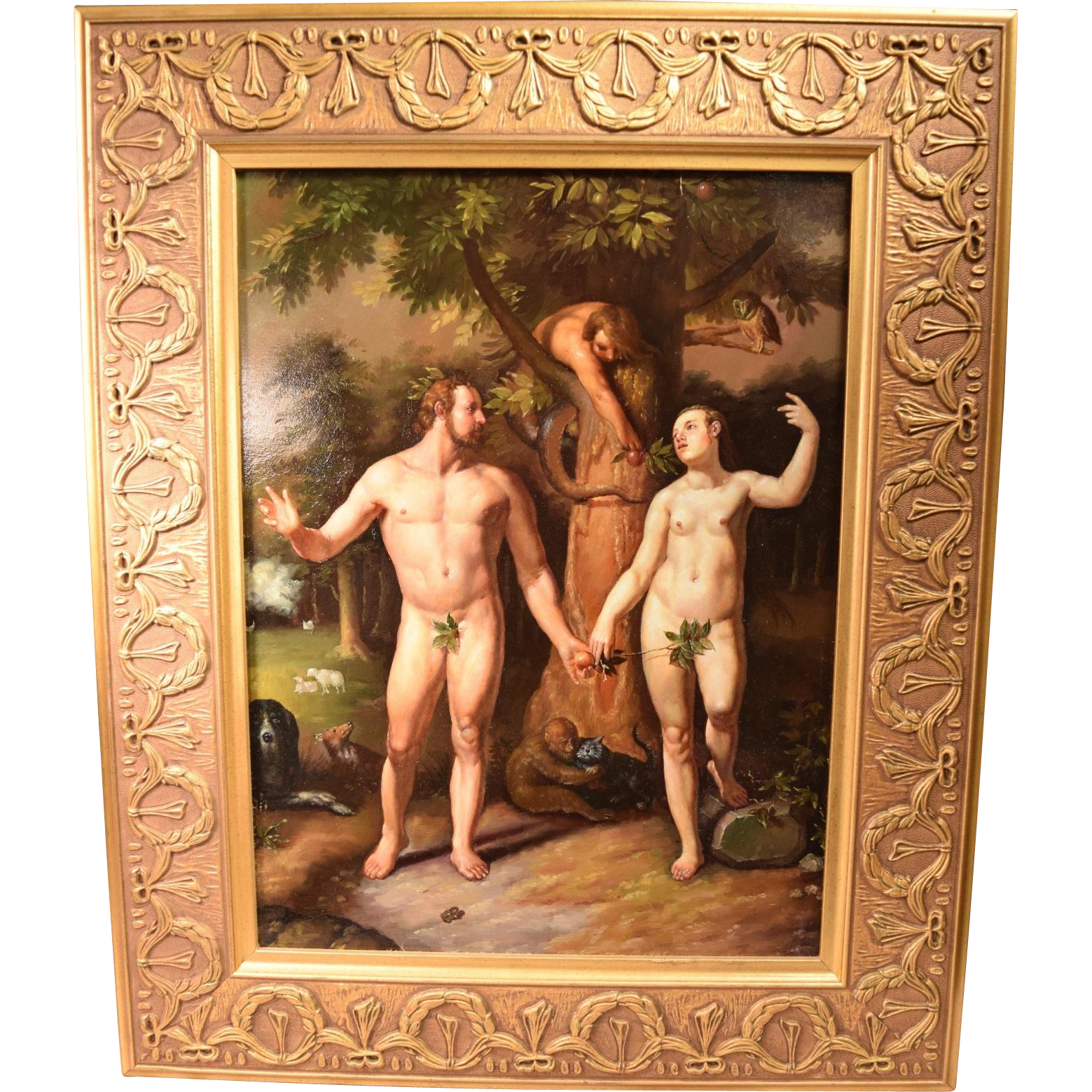 After Cornelis van Haarlem (Dutch, 1562-1638) The Fall of Man, 1592 Oil Painting