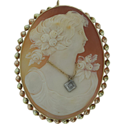 Very Large Antique 14K Gold & Diamond Shell Cameo Pendant Brooch
