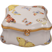 Big Beautiful Limoges France Porcelain Butterfly Box