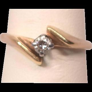 Marked 14k Yellow Gold Ring Size 4-3/4 .15 Carat Diamond Ring