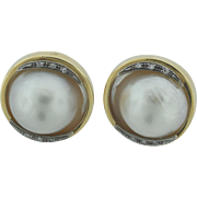 Superb Large 18 1/2 mm Mabe Pearls Diamonds 14k Gold Earrings
