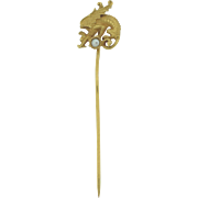 Beautiful Antique Marked 14k Griffin & Pearl Stick Pin